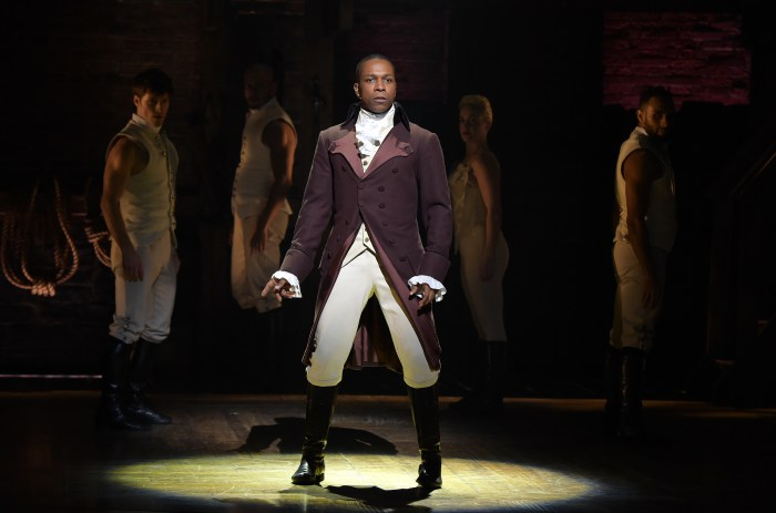 "NEW YORK, NY - FEBRUARY 15: Actor Leslie Odom, Jr. performs on stage during ""Hamilton"" GRAMMY performance for The 58th GRAMMY Awards at Richard Rodgers Theater on February 15, 2016 in New York City. (Photo by Theo Wargo/Getty Images)"